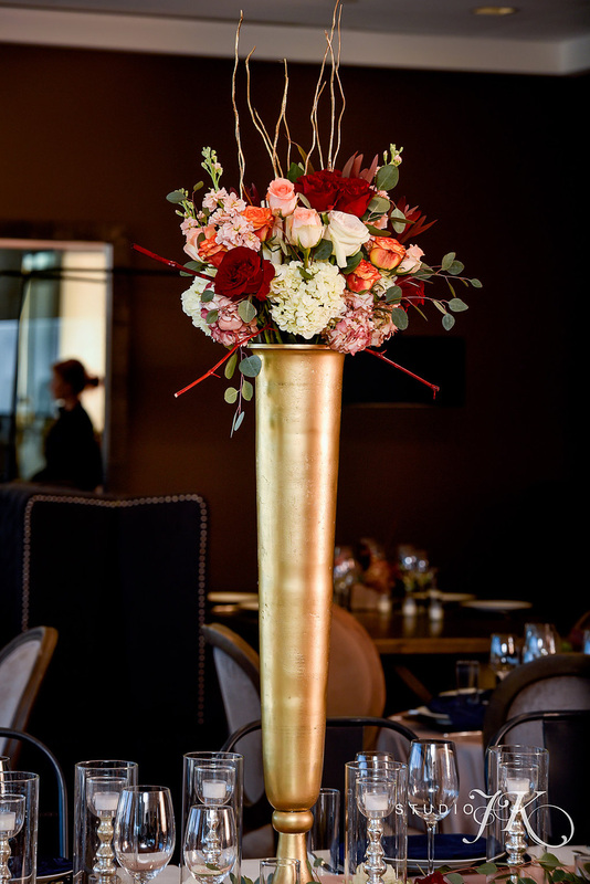 denver wedding planner, colorado day of coordination, seawell wedding, red andgold centerpiece