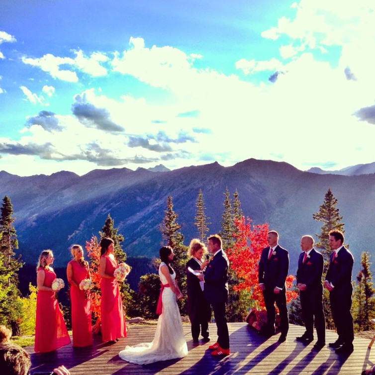 aspen wedding planner, little nell wedding, aspen wedding deck, fall mountain wedding