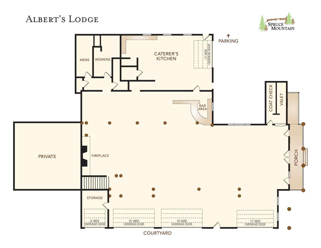 Spruce mountain ranch wedding planner, alberts lodge, ponderosa lodge, albert's lodge floor plan