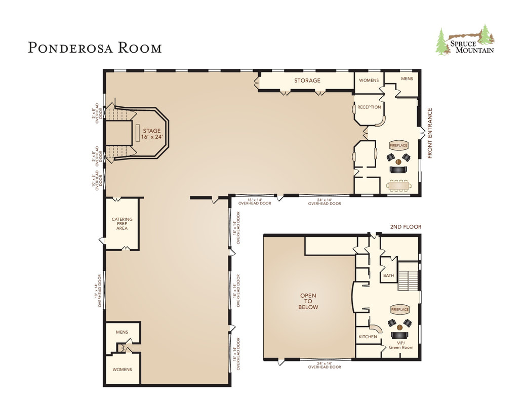 Spruce mountain ranch wedding planner, alberts lodge, ponderosa lodge, ponderosa room floor plan