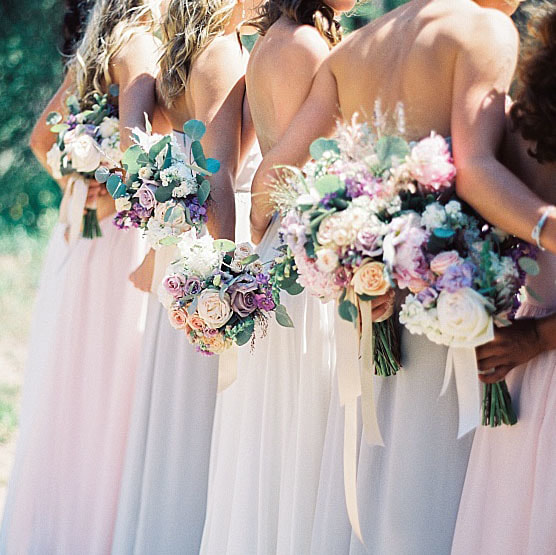 wedding mountain inspiration, beaver creek wedding planner, vail wedding planning, sweetly paired weddings, bridal bouquet, pastel color palette, lavender and blush wedding colors, bridesmaids holding bouquets