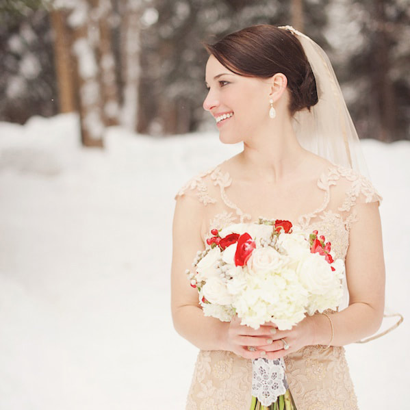 Bridal portrait, vail chapel, sonnenalp, mountain wedding, vail wedding planner, colorado wedding planner, sweetly paired, winter wedding inspiration, lace wedding gown