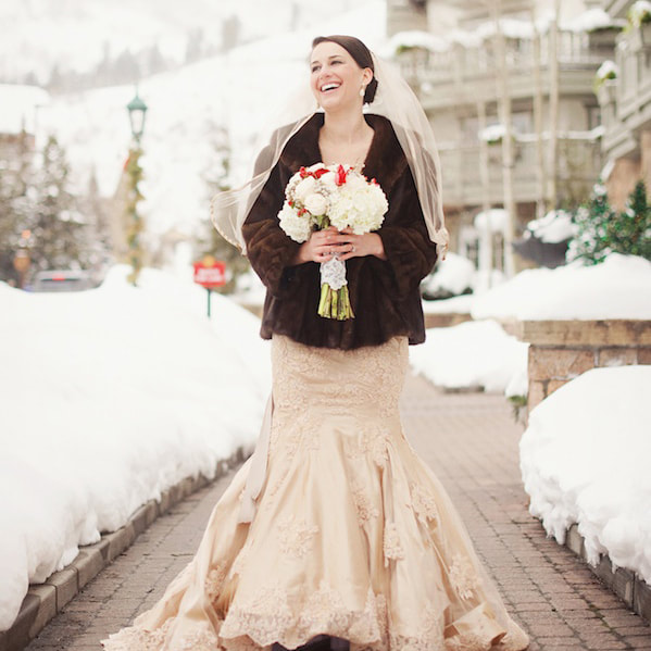 Bridal portrait, vail chapel, sonnenalp, mountain wedding, vail wedding planner, colorado wedding planner, sweetly paired, winter wedding inspiration, lace wedding gown, fur coat