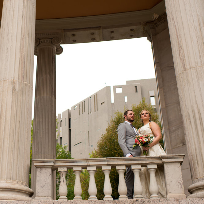 Bride and groom portrait, history colorado center wedding, civic center park, denver wedding planner, sweetly paired, city wedding inspiration