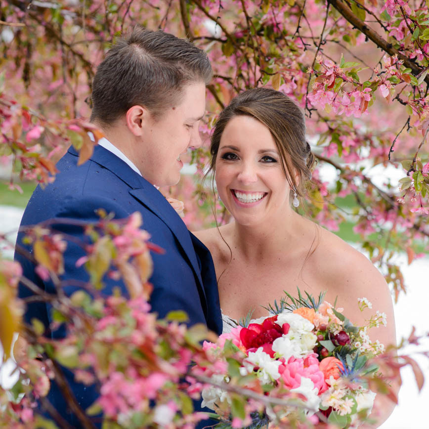 Bride and groom portrait, cherry blossoms in the snow, baldoria on the water wedding venue, denver wedding planner, colorado wedding planner, real weddings, sweetly paired, winter wedding inspiration, destination wedding planner