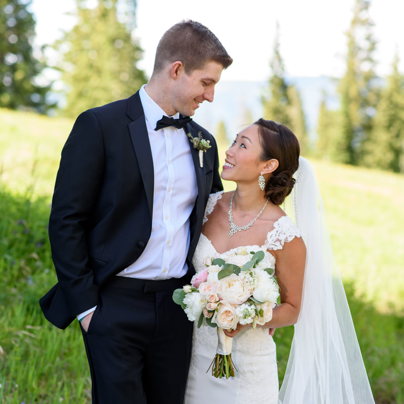 Bride and groom portrait, allie's cabin, mountain top wedding, beaver creek wedding planner, colorado wedding planner, sweetly paired, mixed race couple, asian bride
