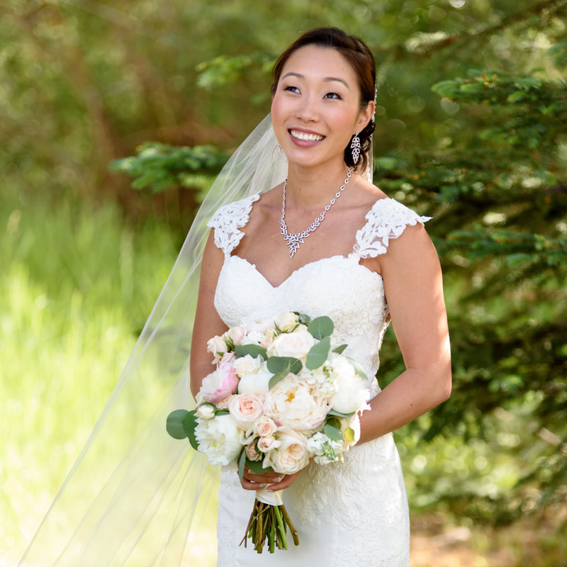 Bridal portrait, allie's cabin, mountain top wedding, beaver creek wedding planner, colorado wedding planner, sweetly paired, cathedral length veil, asian bride, bridal bouquet
