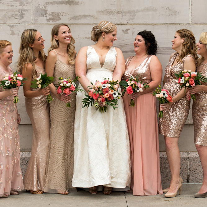 Wedding party photos, civic center park, colorado wedding planner, sweetly paired weddings, denver wedding planner, metallic bridesmaids gowns