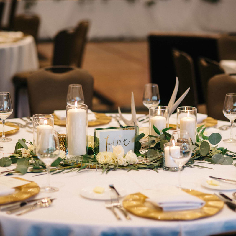 reception details, park hyatt beaver creek, mountain wedding inpiration, gold chargers, antler and candle centerpieces, ballroom reception space, mountain wedding inspiration, beaver creek wedding planner, vail wedding planner, sweetly paired