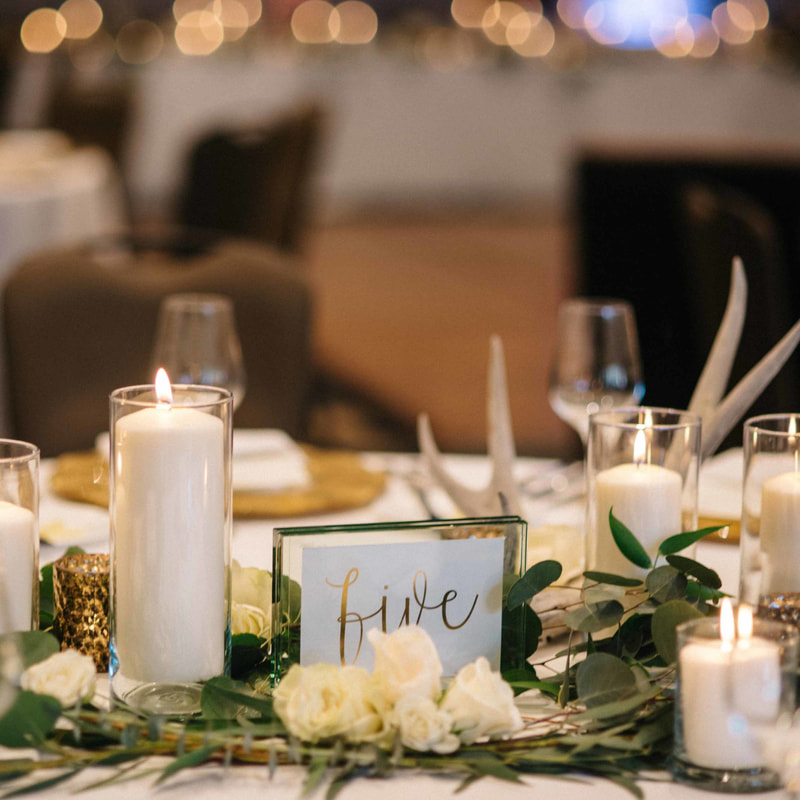 table decor centerpieces, park hyatt beaver creek ballroom reception, candles and antlers, colorado wedding inspiration, mountain wedding planning, beaver creek wedding planner, vail weddings