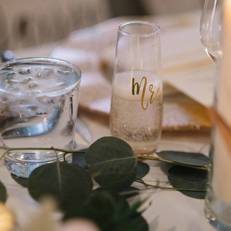reception details, park hyatt beaver creek wedding, mountain wedding inspiration, vail wedding planner, champagne glass with gold initials on head table