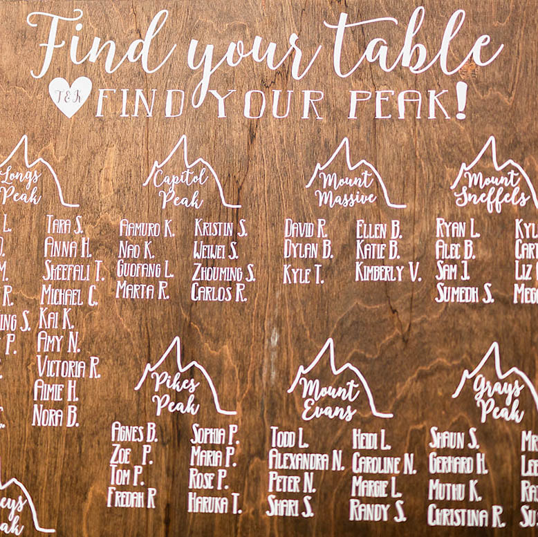 Custom wood seating chart signs Denver