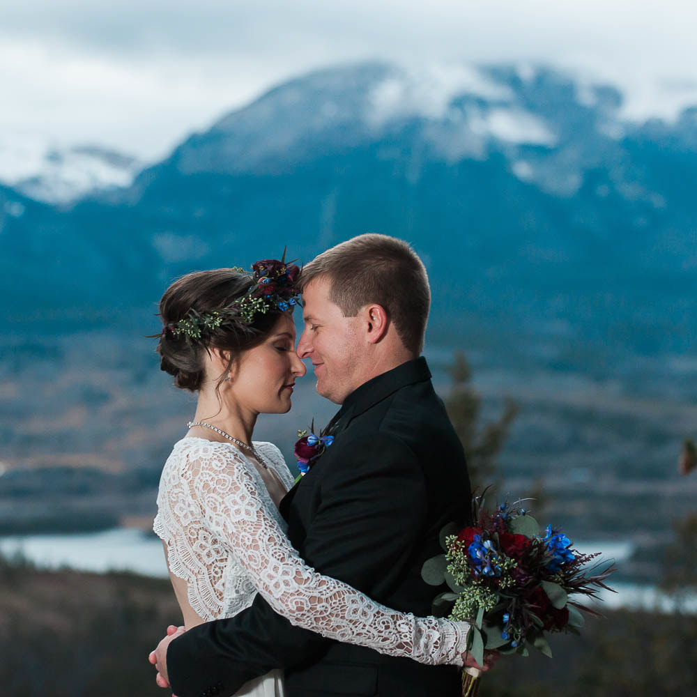 Bride and groom portrait, sapphire point elopement, destination wedding planners, breckenridge wedding planner, sweetly paired mountain wedding planning, winter wedding inspiration