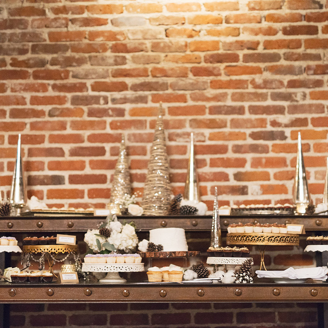 Dessert display, cutting cake, wedding day detail photos, mile high station wedding, colorado wedding inspiration, denver wedding planner, city wedding, winter weddings