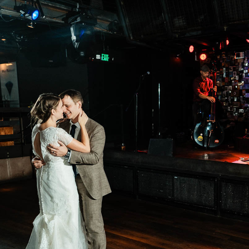 first dance, Ophelia's Electric Soapbox reception venue, live wedding band, denver wedding planner, colorado wedding inspiration, sweetly paired wedding planning, dance floor