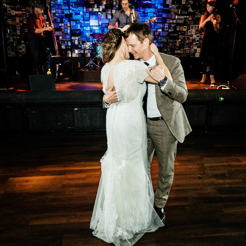 Ophelia's Electric Soapbox reception venue, live wedding band, denver wedding planner, colorado wedding inspiration, sweetly paired wedding planning, dance floor, first dance