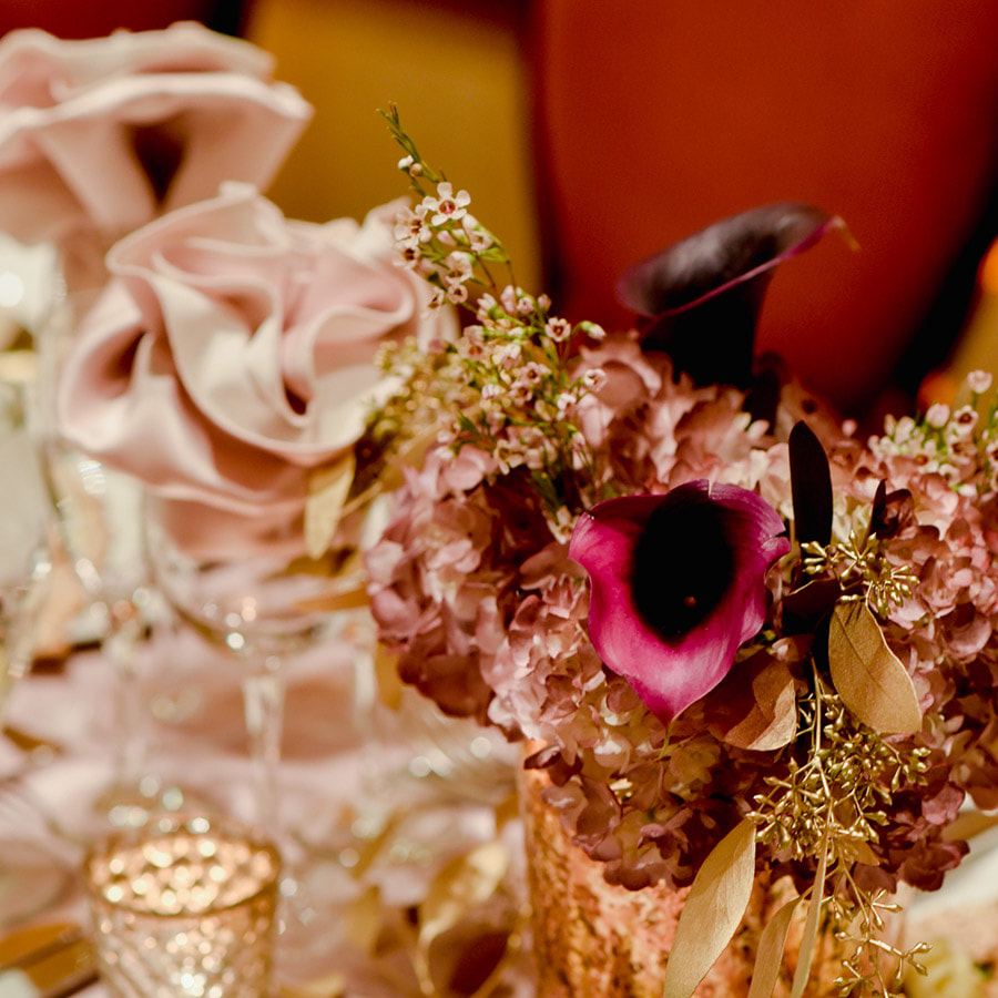 Centerpieces, gold and pink, reception detail photos, denver athletic club weddings, denver wedding planning, colorado wedding planner, destination wedding planner