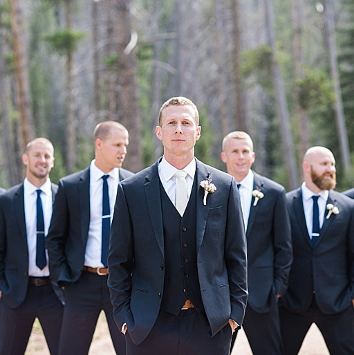 piney river ranch wedding inspiration, vail wedding planning, mountain wedding planner, groom and groomsmen, formal portrait