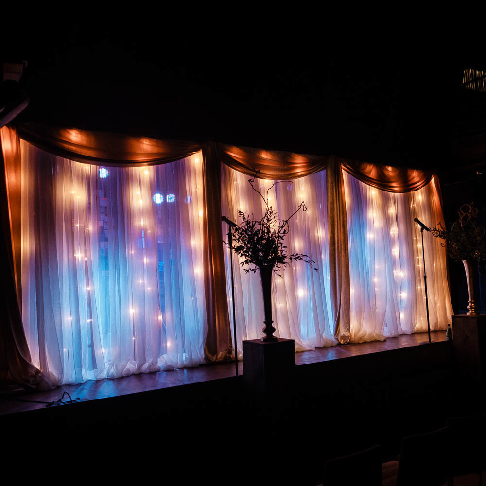 ceremony light wall backdrop, Ophelia's Electric Soapbox wedding venue, detail photos, denver wedding planner, colorado wedding inspiration, sweetly paired wedding planning, music inspired wedding details