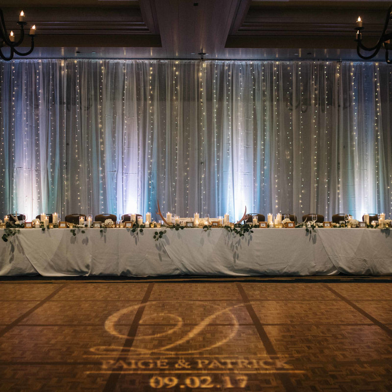 park hyatt beaver creek ballroom wedding reception, lightwall backdrop, head table, gobo with initials on dance floor, beaver creek wedding planner, mountain wedding planner, vail wedding inspiration, sweetly paired wedding planners