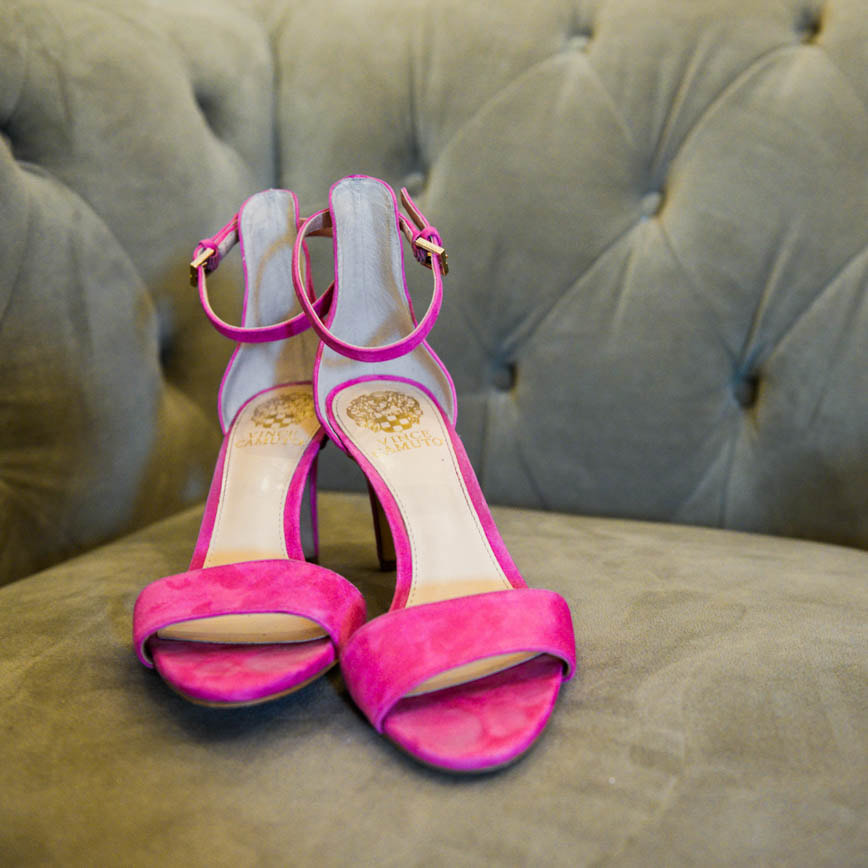 Bride getting ready photo, pink suede sandals, detail photos, denver wedding planner, colorado wedding planner