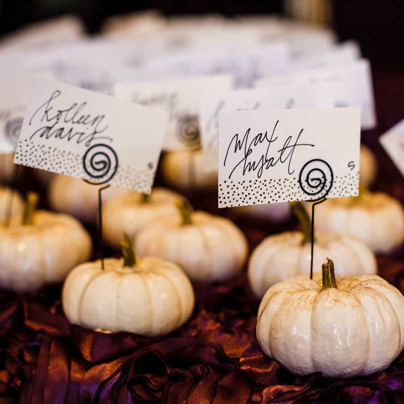 Vail wedding planner, fall wedding colorado, donovan pavilion wedding, cute pumpkin place cards
