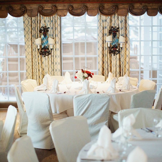 Reception venue, winter reception decor, table settings, sonnenalp wedding, vail wedding planner, colorado wedding inspiration, sweetly paired wedding planning, red floral centerpiece in wooden box, mountain wedding inspiration
