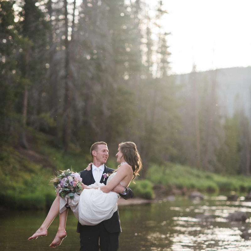 bride and groom portrait, groom carrying bride in lake, wedding mountain inspiration, beaver creek wedding planner, vail wedding planning, sweetly paired weddings, piney river ranch real wedding