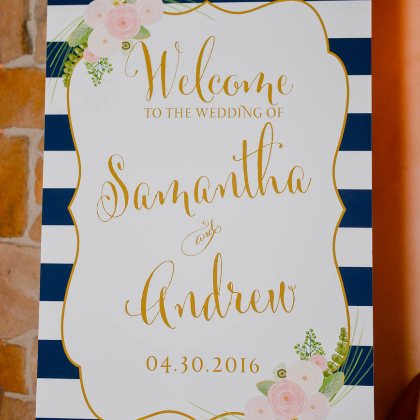 Reception decor, detail photos, denver wedding planner, colorado wedding inspiration, sweetly paired wedding planning, welcome sign, navy and white stripes, pink floral decor, kate spade style
